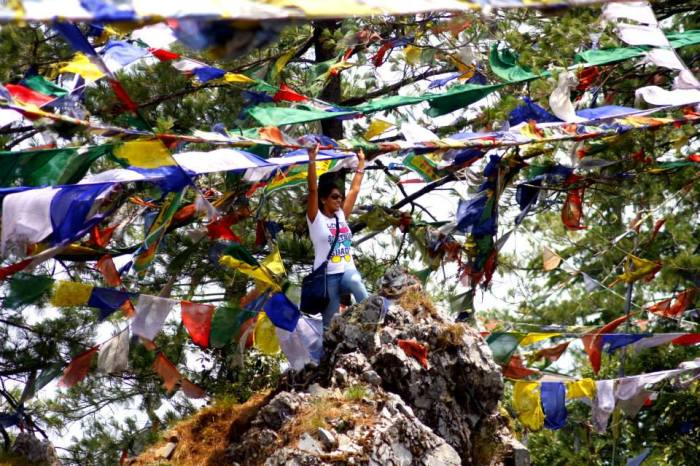 The Prayer flags fluttering in the winds